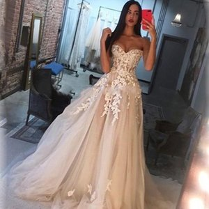 Lace Wedding Dress Charming Sweetheart Backless 3D Floral Appliqued Bridal Gowns A Line Bridal Gown Sweep Train Robe De Mariage