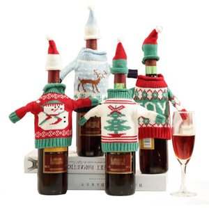 Рождество High Grade Вязаного Рождество бутылка вина свитер Красной бутылка вина Set Нового год Рождество Главного Званый ужин Decor 8833