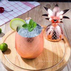 Cocktail d'ananas Coupe Moscow Mule Tasses en acier inoxydable vin Tasses en verre Tasse Originalité Cuivre Métal Cadeau Tumbler LJJA3302-2