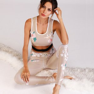 NORMOV Black Tracksuit Flower Printing Women Suit Fitness Sets Elastic Hollow Out Crop Tops Leggings Two Pieces Fitness Set