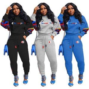 Campeones mujeres de la marca de 2 piezas de ropa otoño invierno conjunto de chándal pantalones de ropa deportiva sudadera pullover polainas trajes con capucha bodys 0073