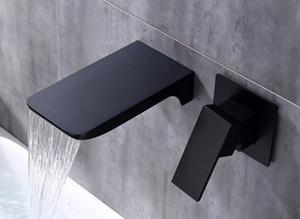 الجدار الخيالة النحاس شلال BASIN FAUCET ، الحنفية بالوعة الأسود ، الحمام أخفى صنابير خلاط المياه الساخنة والباردة WB01