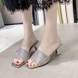 2020 brilhante Rhinestone Abra Toe High Heel Slippers Mulheres Verão Sandals sapatos da moda, Ouro, Prata
