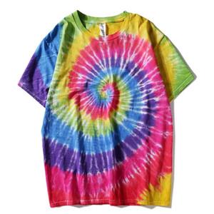 Plegie Batik tişört Unisex 2019 Yaz Hip Hop Yuvarlak Yaka Erkek Düzensiz desen tişörtleri% 100 pamuk Gevşek Tee Gömlek MX200613