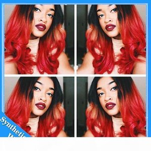 L Ombre Red Loose Body Wave Synthetic Lace Front Wig 1b Black To Bright Red Two Tone Color Heat Resistant Fiber Synthetic Wavy Wig
