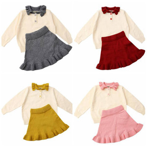 Baby-Kleidung-Kind-Strickjacke-Shirts Röcke Sätze Toddle Strickoberteile Minikleider Anzüge Newborm Wolle Boutique Tees Röcke D6496