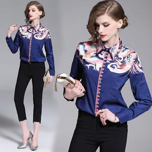 Nuevo 2019 Pista de lujo clásico de verano Phoenix impresión de las señoras de Oficina ocasional botón frontal de manga larga de cuello de apertura de cama Blusas Camisas Tops