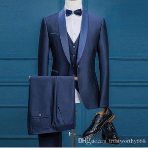 New Arrival One Button Groomsmen Shawl Lapel Groom Tuxedos Men Suits Wedding Prom Best Man Blazer ( Jacket+Pants+Vest+Tie) AA169