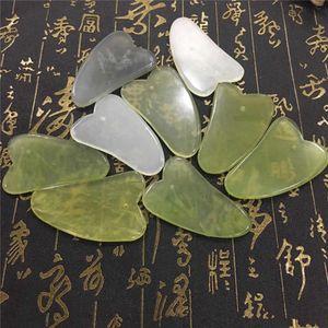 Jade Consiglio Giada verde naturale di pietra Cure Massaggio GuaSha strumento Viso Corpo rilassamento Bellezza Salute Strumento RRA3187