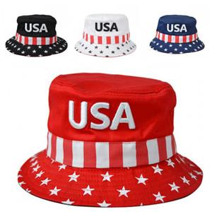 Estrela do bordado Trump 2020 Bucket Chapéus Pára-Fisherman Hat Cap Outdoor fácil de transportar Caminhadas Pesca Ciclismo Supplies 12sx H1