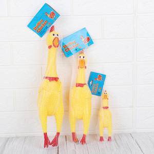 Домашние собаки игрушки Кричащие Цыпленок Squeeze Звук тои Супер прочный Смешные Squeaky Желтый Rubber Chicken Dog Chew Креативный Игрушка BH2384 CY