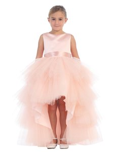 2019 Cute Blush Pink Designer Kids Dresses Tulle Short Front Long Back Jewel Neck Belt Formal Wear Girls Party Gowns Wholesale