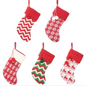 5Pcs Christmas Stockings Snowflake Elk Socks Xmas Kids Gifts Bag Knitted Wool Socks Christmas Tree Decoration Ornaments Candy Ap