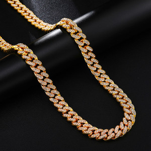Gold Necklace Jewelry Men 18Inch 20Inch 22Inch 24Inch 30Inch Iced Out Rhinestone Silver Miami Cuban Link Chain Men Hiphop Necklace