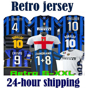 Retro-Version 2009 2010 MILITO SNEIJDER ZANETTI Fußball Trikot Pizarro Football MILAN 1997 1998 97 98 99 Djorkaeff Baggio RONALDO Inter 02 03