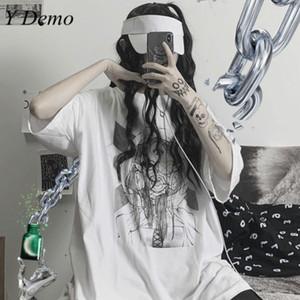Y Demo Harajuku Streetwear surdimensionné femmes T-shirt fille Cartoon Imprimer vrac d'été à manches courtes Femme Nouveau