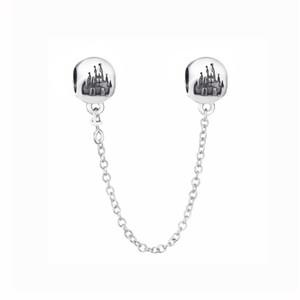 Novo 100% 925 Cadeia Sterling Silver Bead encanto Wonderful World Park Castlel Starry Sky Segurança Beads Fit Europeu Pulseira DIY jóias