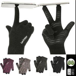Unisex Hombres Mujeres Classic guantes de la pantalla táctil de punto de lana de invierno cálido tacto guantes de la pantalla Hombres Mujeres Guantes de punto de lana