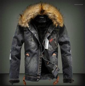 Mens Chaud Jeans Outwears Hiver Mens Designer Épais Vestes De Mode À Manches longues Manteaux Avec Fourrure De luxe