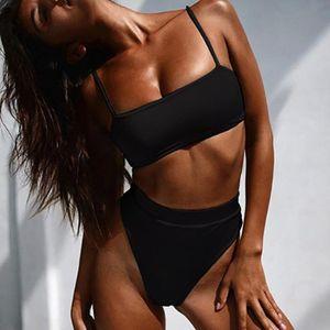 Summer Sexy Bikini Set Женщина Купальник сплошного цвета бикини Высоких Купальники Купальник проложенного бюстгальтер ремни Biquini талия Женская Назад Свободная