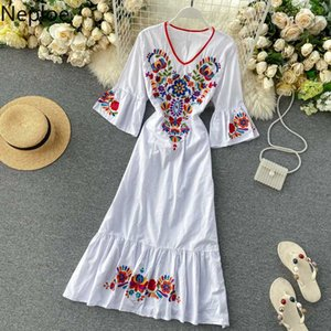 Neploe Embroidey Indie Folk Dress Women Fashion Butterfly Sleeve V Neck Ladies Vestido Elegant Lace Up Slim Waist Female Dresses