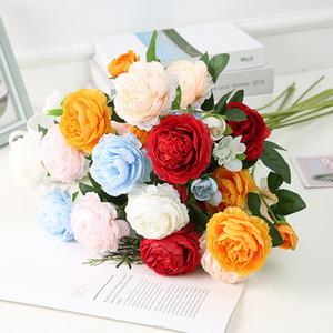 3 cabezas de flor del Peony de la sede artificial de la tela peoni Rosa Blanco Verde Naranja Rojo boda Peony Decoración