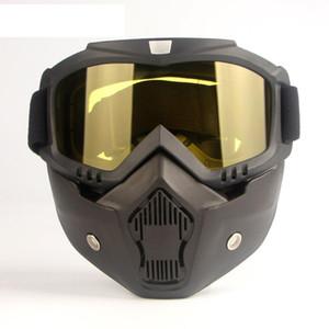 Adultos desmontable viento a prueba de polvo del filtro Máscara de la boca de la cara de desgaste casco de la motocicleta Gafas protectoras Seguridad en el Trabajo