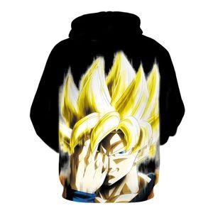 Manica lunga Nuovo Dragon Ball Z Goku calma bianca con cappuccio Felpe con cappuccio Pullover 3D Uomo Donna Outerwear Nuovo Hoodie