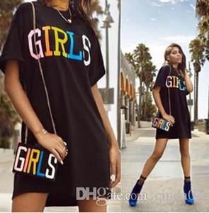 Menina letras coloridas impressão vestidos pretos Crew Neck Vestido T-shirt de alta qualidade Moda T-shirt femininas Novos