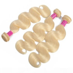 L Malaysian Human Hair Extensions Natural Color Body Wave 613 Blonde Remy Blonde 2 Bundles Double Wefts 8 -30inch