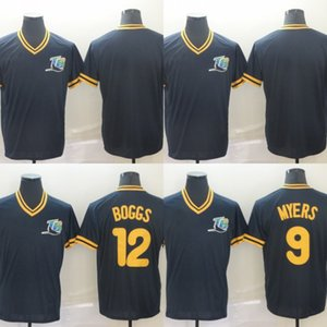Mens Tampa Bay 12 Wade Boggs 9 Wil Myers 100% Stitched Baseball Jerseys Cheap Fast Shipping S-XXXL