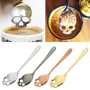 Sugar Skull Tea Spoon Suck Stainless Coffee Spoons Dessert Spoon Ice Cream Tableware Colher Kitchen Accessories GGA364 100PCS