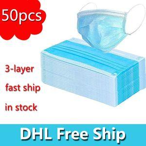 DHL frete grátis 3 camadas não-tecidos máscaras máscara descartável Proteção e Saúde Pessoal na máscara protectora Sanitária Máscara Stock