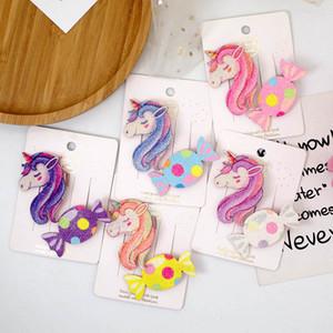 Ins 2pcs set Cute Unicorn girls hair clips glisten sweets princess baby BB clips kids barrettes designer hair clips hair accessories B1413