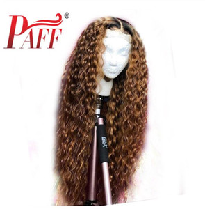 PAFF Ombre Curly Spitze-Front-Menschenhaar-Perücken brasilianischen 360 Lace Frontal Perücke Pre-gerupft Gebleichte Knoten Baby-Haar