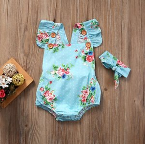 US STOCK Summer Hot Sell Bodysuits Floral Newborn Baby Girls Clothes Bodysuits One Pieces Backless Sunsuit Clothes Headband