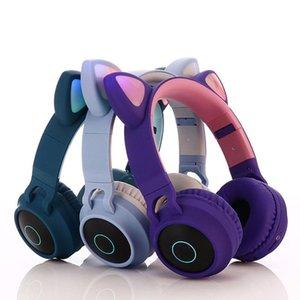 Sevimli Kedi Kulaklık Bluetooth Kablosuz Kulak Kulaklık Yanıp sönen Parlayan kulaklıklar hafif Gaming Headset Kulaklık İçin Kızlar LED