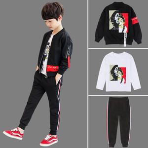 Kinderkleidung Jungen Herbst Set 2020 New Teens koreanischen Jungen-Kleidung Frühling und Herbst Cardigan Jacket + T-Shirt + Hosen 3Pcs