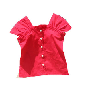 Girls Blouses NEW Summer Children Clothing Teenage School Tops Cotton Solid Red Shirt Clothes for Girls Cute Kid Blouse