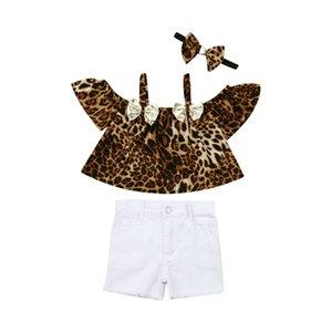 Toddler Enfants Bébés filles Leopard Hauts T-shirt + Shorts Jeans Pantalons Tenues Vêtements