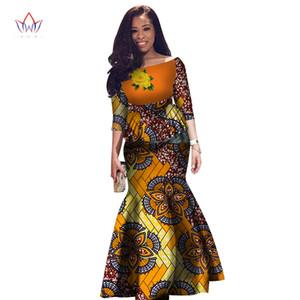 Cultivos vestido de dos piezas Conjunto mujeres medio de la manga de las tapas de las mujeres falda maxi larga Establece africana sirena Maxi Ropa 6XL BRW WY2631