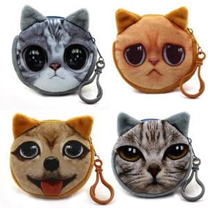 3D Wallet Cute Girl Animal Bag visage Zip Mini chat Monnaie peluche chien chat bourse de pièces de petits enfants Pouch