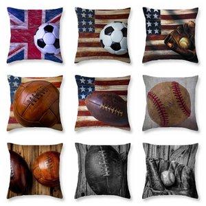 9styles Softball Baseball federa Calcio federe Vintage Bandiera Pillowslip Calcio Stampato Divano Cuscino Decorazione domestica FFA2025