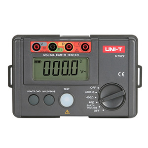 Freeshipping UT522 Digital Earth Ground Resistance Tester 400V 4000Ohm Voltage Detector Ohm Meter LCD Backlight4000 Counts Test Lead