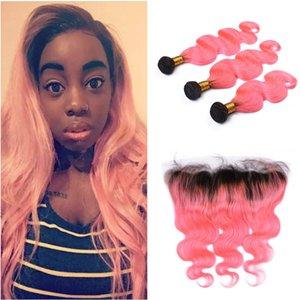 브라질 버진 핑크 Ombre 인간의 머리카락 번들 3PCS 정면 4Pcs와 함께 롯 트 바디 웨이브 두 톤 1B / 핑크 Ombre 머리 확장 정면