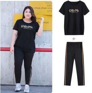 Casual summer 2 piece set for woman casual black plus big size D012 7XL 6XL 5XL 4XL 3XL woman's shirts pants set womens