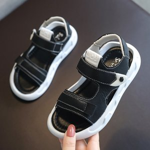 Child Open Toes Sandals Boys Outside Non-slip Beach Sandals 2020 Summer Kids Soft Bottom Plat Shoes Black Baby Shoes Size 21-36 #3-388