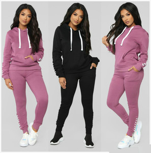 Wholesale Designer Womens Clothes Casual Fashion 2019 Autumn Spring Long Sleeved Two-piece Jogger Set Ladies Fall Tracksuit Sweat Suits