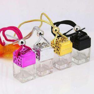 4colors de coches Colgando perfume de la botella de perfume del ambientador de aire Cubo Aceites Esenciales Difusores Fragancia vidrio vacío Botella GGA3379-2
