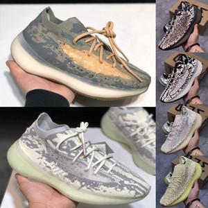 2020 En Kalite ile Kutu 380 yabancı Mist Siyah Melek Yansıtıcı Erkek Kadın Ayakkabı Koşu Kanye West 380S Erkek Eğitmenler Spor Spor ayakkabılar 36-45